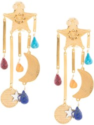Mercedes Salazar Star And Moon Earrings Gold