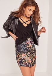 Missguided Petite Exclusive Curve Hem Animal Print Snake Skirt Khaki