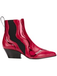 Sergio Rossi Pvc Insert Ankle Boots Red