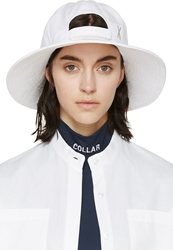 Mm6 Maison Margiela White Canvas Large Brimmed Cap
