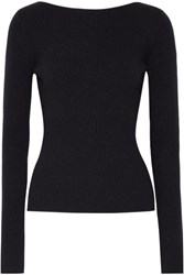 Elizabeth And James Fay Tie Back Ribbed Knit Sweater Midnight Blue