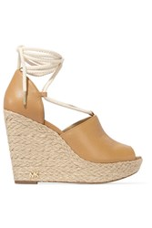 Michael Michael Kors Hastings Textured Leather Espadrille Wedge Sandals Beige