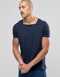 Asos Smart T Shirt With Square Neck In Navy Navy