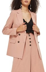 Topshop Double Breasted Blazer Pink
