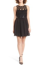 Trixxi Women's Embellished Lace Skater Dress