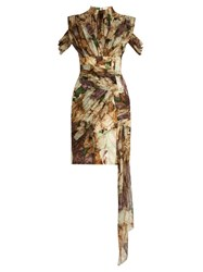 Christopher Kane Wilted Rose Print Draped Wrap Dress Beige Multi
