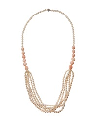 Belpearl Pearl And Angel Skin Coral Multi Strand Necklace