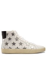Saint Laurent Court Classic High Top Leather Trainers White