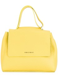 Orciani Mini Fold Over Closure Tote Yellow Orange