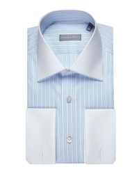 Stefano Ricci Striped Jacquard Dress Shirt With Solid Collar And Cuffs Blue