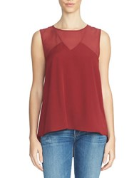 1.State Chiffon Insert Sleeveless Blouse Wine