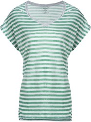 Majestic Filatures Striped V Neck T Shirt Green