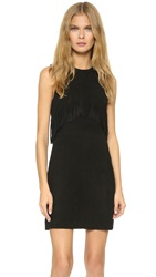 Rebecca Minkoff Sleeveless Fringe Suede Dress Black