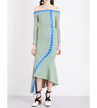 Richard Malone Off The Shoulder Stripped Ribbed Knit Midi Dress Blue Yellow