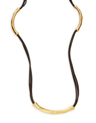Uno De 50 O No Tubi Beaded Faux Leather Necklace Gold