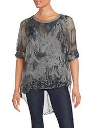 Saks Fifth Avenue Floral Print Lightweight Top Grey