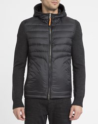 Parajumpers Black Illuga Hooded Mix Knit And Down Jacket