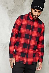 Forever 21 Slim Fit Cotton Flannel Shirt Red Black