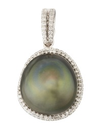Gray South Sea Pearl And Diamond Halo Pendant 0.26 Tcw Eli Jewels