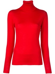 Escada Roll Neck Fitted Sweater Red