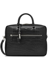 Saint Laurent Embossed Leather Briefcase Black