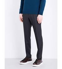 Hugo Boss Slim Fit Tapered Wool Trousers Charcoal