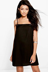 Boohoo Tie Strap Eyelet Pinafore Slip Dress Black