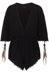 Caravana Izamal Fringed Cotton Gauze Playsuit Black