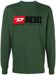 Diesel Embroidered Logo Jersey Sweater Green