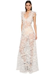 Giambattista Valli Ruffled Chantilly Lace Dress