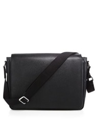 Giorgio Armani Leather Messenger Bag Black