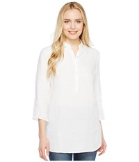 Three Dots Long Sleeve Tunic W Front Buttons White Women's Clothing