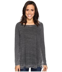 Allen Allen Raglan Tunic With Ribbed Sleeves Black Women's Blouse