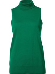 Trina Turk Turtleneck Sleeveless Blouse Green