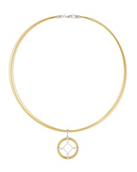 Alor Spring Coil Cable And Diamond Pendant Necklace Yellow