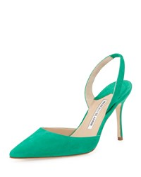 Manolo Blahnik Carolyne High Heel Suede Halter Pump Green Women's