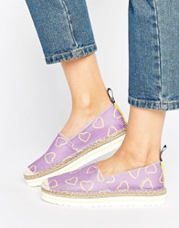Love Moschino Heart Print Espadrille Purple