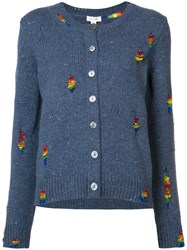Marc Jacobs Embroidered Round Neck Cardigan Women Cashmere Wool L Blue