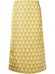 La Doublej Geometric Pencil Skirt Yellow And Orange