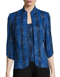 Alex Evenings Three Quarter Sleeve Glitter Twinset Black Blue