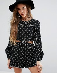 Honey Punch Embroidered Frill Playsuit With Cut Out Black