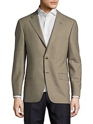 Hickey Freeman Milburn Checked Two Button Wool Jacket Beige