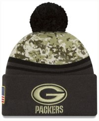 New Era Men's Green Bay Packers Salute To Service Official Pom Knit Hat Charcoal Camo