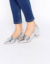 Asos Signal Pointed Heels Silver
