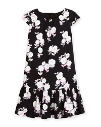 Kate Spade Cap Sleeve Floral Crepe Flounce Dress Black Size 2 6 Black Pattern
