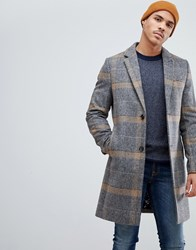 Ted Baker Wool Overcoat In Camel Check Grey