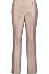 Tory Burch Prisca Cropped Silk Satin Straight Leg Pants Pastel Pink