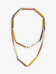One Button Beaded Long Layered Necklace Mustard Chocolate