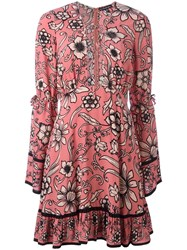 For Love And Lemons Floral Print Flared Dress Pink Purple