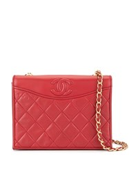 Chanel Vintage Cc Logos Chain Shoulder Bag Red